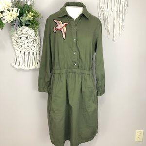 Vero Moda XL army green dress embroidered bird det